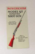 Winchester model 97 SHOT GUN metal advertising sign THE STANDARD HAMMER S01