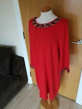 Ladies Dress Size 16 Red Beaded Jumper Knit Smart Party Evening Event