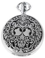 Taschenuhr Weiß Silber Schwarz Klassik Muster Analog Quarz D-180422000002600