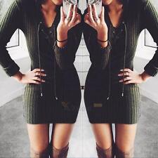 New Womens Winter Long Sleeve Jumper Sweater Dress Bodycon V Neck Slim Dress