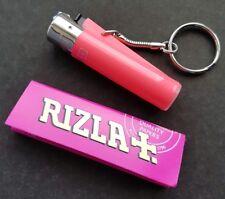 PINK Clipper keyring lighter & pink rizla papers / mini clipper keyring