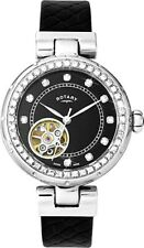Rotary Women's Watch Skeleton Automatic Watch with Leather Strap LS003/A/13