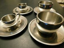 8x Piece Collector Spun ALLOY Cups/Tin Saucers POLISHED Chrome Plated excond(B6)