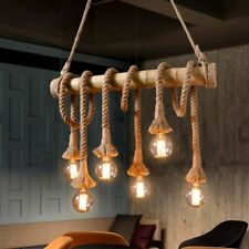 Vintage Edison Hemp Rope Ceiling Lamp Chandelier Pendant Light Fixture E26 Decor