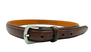 Oroton Vintage Brown Leather Belt with Silver Tone Buckle Size Small