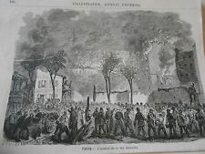 Gravure 1874 - Paris l'incendie de la Rue Crozatier