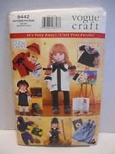 """Vogue Craft #9442 Linda Carr Designs 18"""" DOLL CLOTHES SEWING PATTERN ~ UNCUT"""