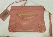 "BALENCIAGA Agneau Giant 12 Gold Flat Handle Clutch Rose Bonbon bag EUC 11"""