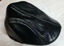 Faux Leather Black Driving Golf Newsboy Flatcap Hat Size S/M EUC