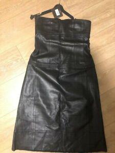 NWT $2,895 Narciso Rodriguez Lambskin Genuine Leather Dress IT 44/US 8