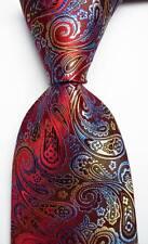 New Classic Paisley Red Blue Gold JACQUARD WOVEN 100% Silk Men's Tie Necktie