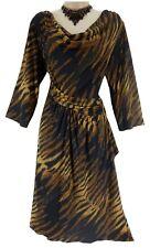 14/16 1X SEXY Womens GOLD/BLACK DRAPED ANIMAL PRINT DRESS Cocktail PLUS SIZE