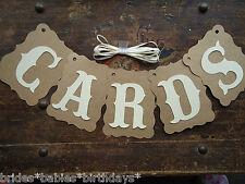 Bunting Banner Flags Garland CARDS Cream Brown Wedding Photo Birthday DIY C5