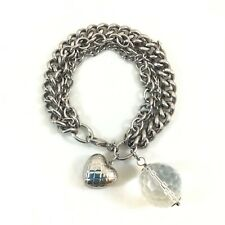 "Milor Italy Stainless Steel Crystal Ball & Quilted Heart Charm Bracelet 8"" L"
