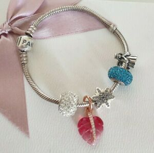 Pandora Armband 18 cm mit 5 Beads Glitzer türkis Stern rosegold Blatt Engel