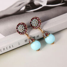 earrings CLIP ON Golden Floral Crystal Pearl Turquoise Blue Class A25