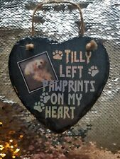 Personalised photo Slate Stone Heart Pet Memorial Grave Marker Plaque cat / Dog