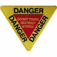 Danger Patch Embroidered Badge Embroidery Crafts Applique Iron On Sew On Clothes