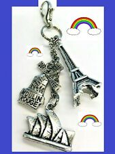 🌈 Eiffel Tower Zipper Pull Clip on Charm Planner Backpack Purse Fob Keychain 🌈