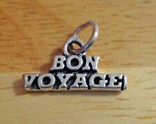 Sterling Silver 6x17mm says Bon Voyage Good Bye Cruise Charm