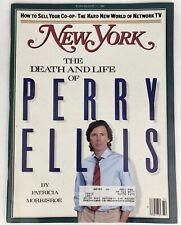 NEW YORK Magazine AUGUST 11, 1986 DEATH & LIFE of PERRY ELLIS LEONA HELMSLEY ADS
