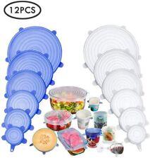 12x Couvercles Silicone Extensibles Sans BPA Conservation Aliments Reutilisables