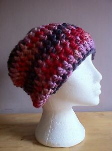 Hand Crochet Adult Chunky Pink / Purple Slouchy Beanie / Wool Hat / Ski Hat