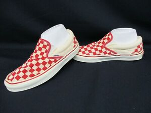 VANS Classic Slip-On Trainers, Skate Shoes, Red, Cream Check, Size UK 5, Eur 38