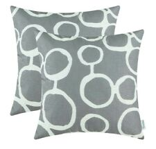 CaliTime Canvas Geometric CIRCLES Grey Pillow Cases 2pk 18 Inches