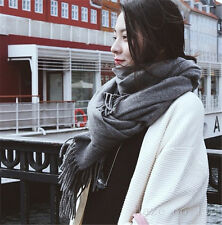 Unisex Long Cashmere Winter Wool Warm Scarf Wrap Shawl Big Scarf gray UK
