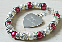 Engraved Heart Charm Valentines Bracelet Gift for Girlfriend Friend Wife Fiance