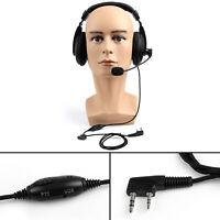 1x Heavy Duty Overhead Headset Boom Mic PTT For Kenwood Puxing Baofeng Radio B3
