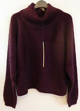 Brave Soul Cropped Knitted Jumper Sweater Burgundy Size 16 L BNWT Uk Freepost