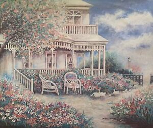 """GARDEN COTTAGE Hand signed Art Giclee on Canvas 20"""" x 24"""""""