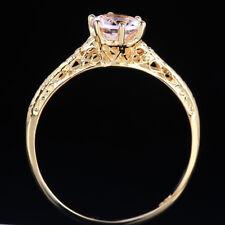 ART DECO 6mm MORGANITE ANNIVERSARY VINTAGE Women`s RING Solid 10K Yellow Gold