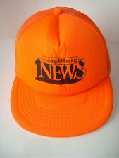 Bright Neon Orange FISHING & HUNTING NEWS Trucker Style Ball Cap Hat  YUPOONG