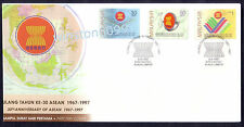 1997 Malaysia 30th Anniversary ASEAN 3v Stamps FDC (Kuala Lumpur Cancellation)