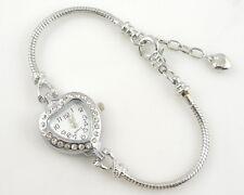 1pcs Heart Charm Watch Bracelet Inlay Crystal Fit European Bead 20cm WP23