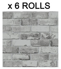 Grey Brick Effect Wallpaper Slate Wall 3D Weathered Stone Realistic 6 Roll Deal