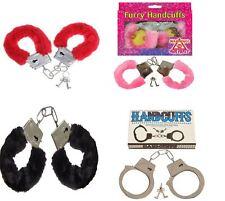 Metal Black Furry Handcuffs Stag Hen PRTY Fancy Dress Role Play Night