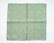 "Battisti Green White Houndstooth Print 100% Silk Designer Pocket Square 13"""