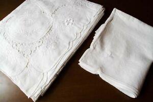 """Tovaglia da tavola in """"pizzo di Burano"""" lino bianco con tovaglioli"""