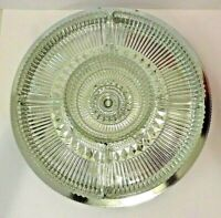 Vintage Kromex Lazy Susan Chromed Aluminum & Clear Glass Buffeteria Serving Tray