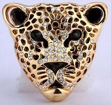 Wild Leopard Stretch Ring Crystal Rhinestone Animal Punk Biker Gold Clear RA10
