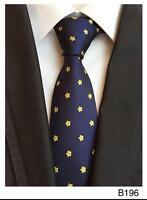 Tie Flower Navy Blue Yellow Pattern Handmade 100% Silk Wedding Necktie 8cm Width