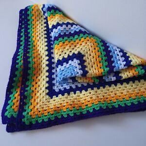 Crochet Granny Square lap blanket Throw Multicolour  112 x 112 cm Preowned clean