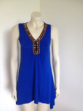 Cable & Gauge Blue Sleeveless Beaded Blouse Size S