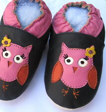 Minishoezoo owl brown 3-4T soft sole leather toddlers slippers girl