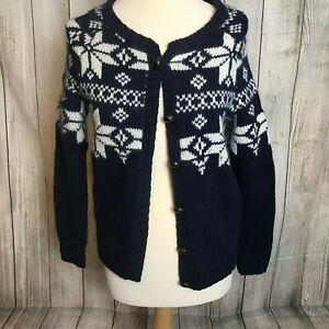 Stunning Blue White Knitted Chunky JACK WILLS Angora Cardigan Size 8-12