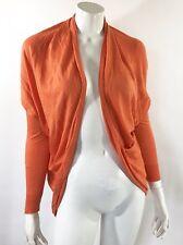 Lauren Ralph Lauren Womens Cardigan Sweater S/M Orange Cocoon Silk Blend NEW